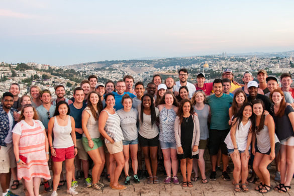 Group of students overlooking Israel