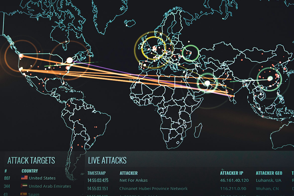 On the Cutting Edge image of world map pin pointing cyber attacks